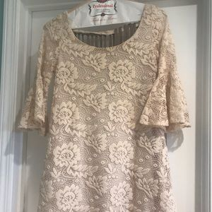 Lacy beige dress size small. Worn 1 time.